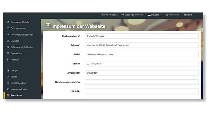 Screenshot DISH Website Builder Impressum eingeben