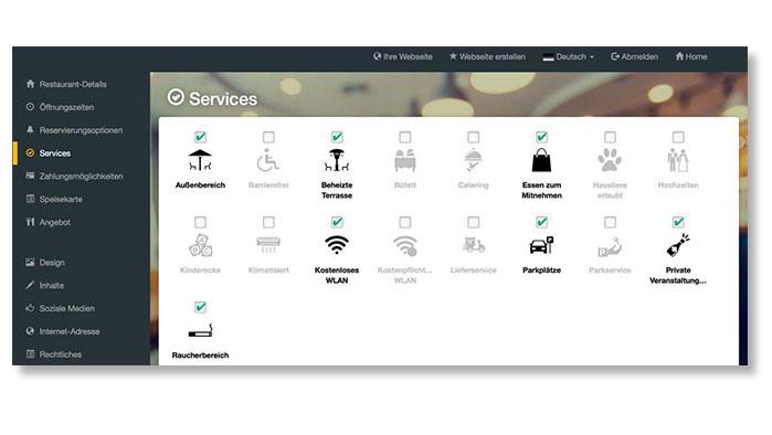 Screenshot DISH Website Builder Services angeben