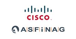 CISCO- und ASFINAG-Logo auf weißem Hintergrund