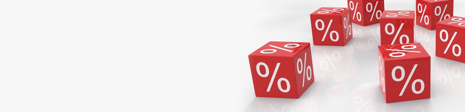 Würfel mit Prozentzeichen