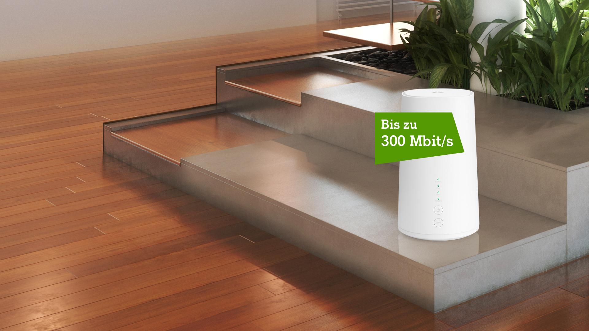 Net Cube Plus auf Wohnzimmertisch mit Störer: bis zu 300 Mbit/s