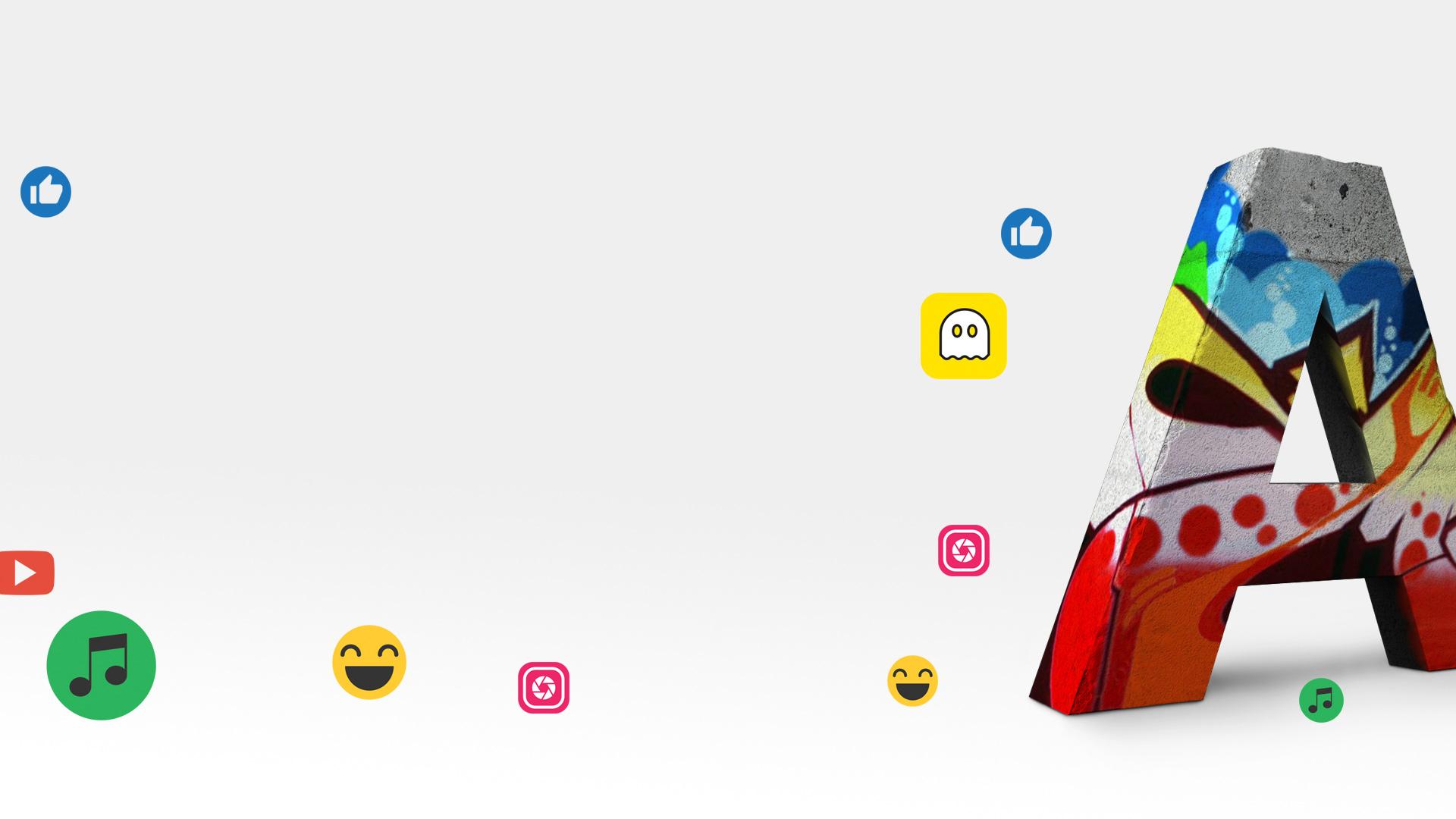 Graffiti-A mit bekannten App Icons