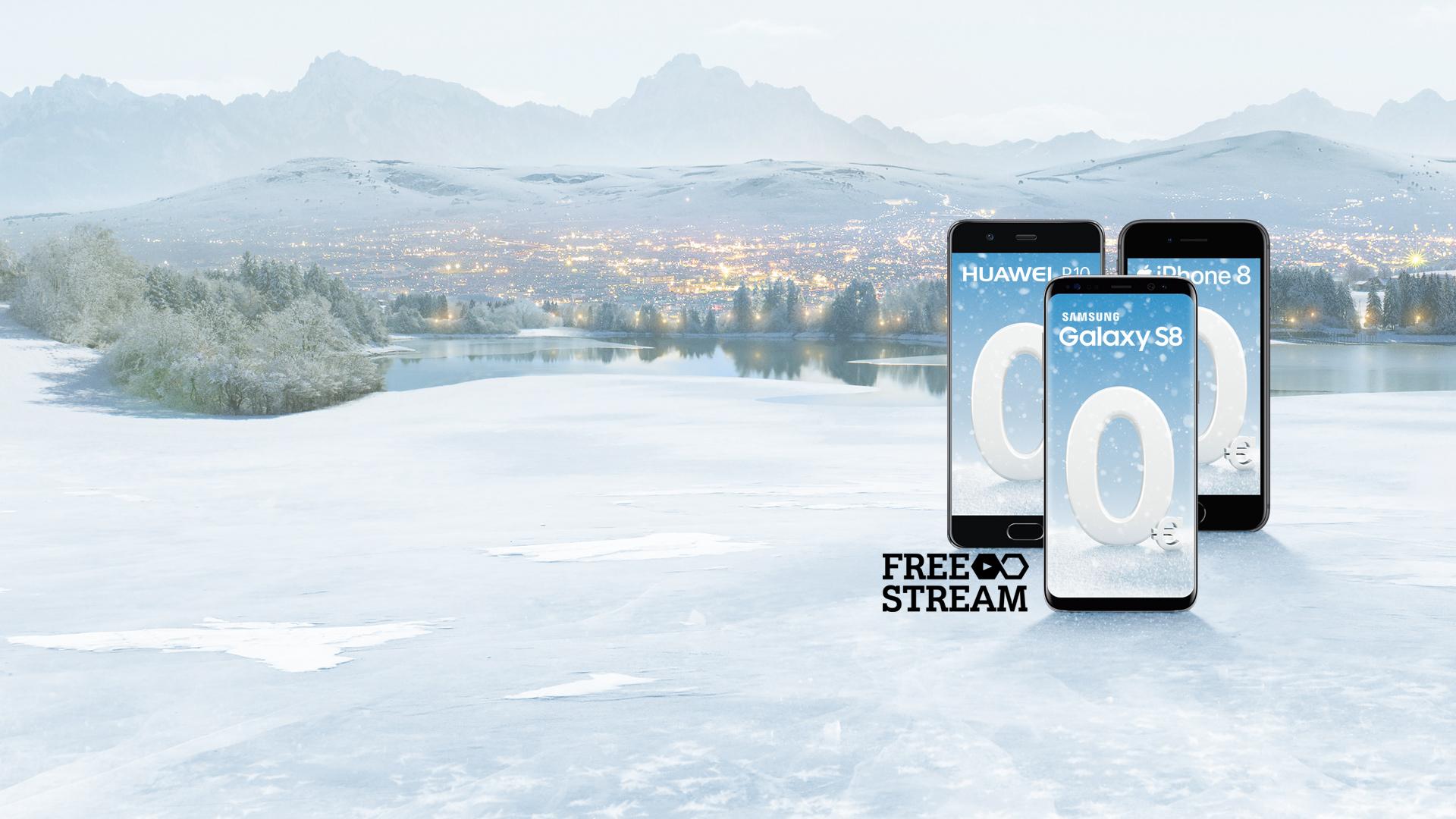 Samsung Galaxy S8, Huawei P10 und iPhone 8 mit gratis Aktivierung und Free Stream Logo auf winterlichem Hintergrund