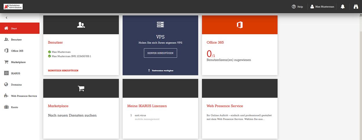 A1 Marketplace Admin Portal Startansicht
