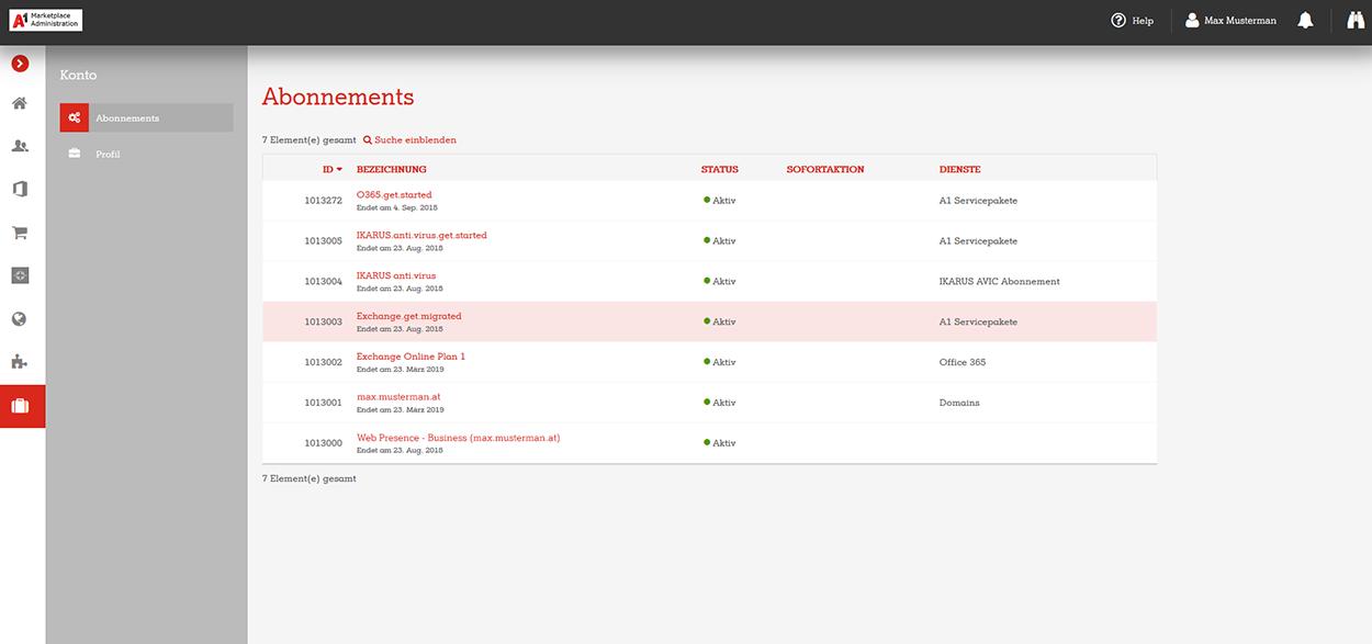 A1 Marketplace Admin Portal Abonnements