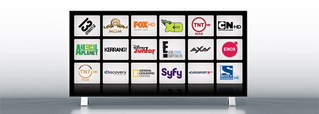 Fernseher mit abgebildeten Premium-TV Sendern