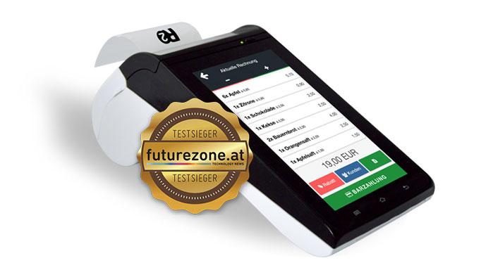 Registrierkasse Ready2Order mit Testsieger-Sticker von futurezone.at