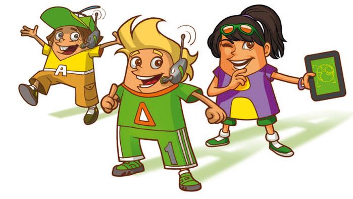 drei gezeichnete Kinder, die mit Headsets und Tablets spielen