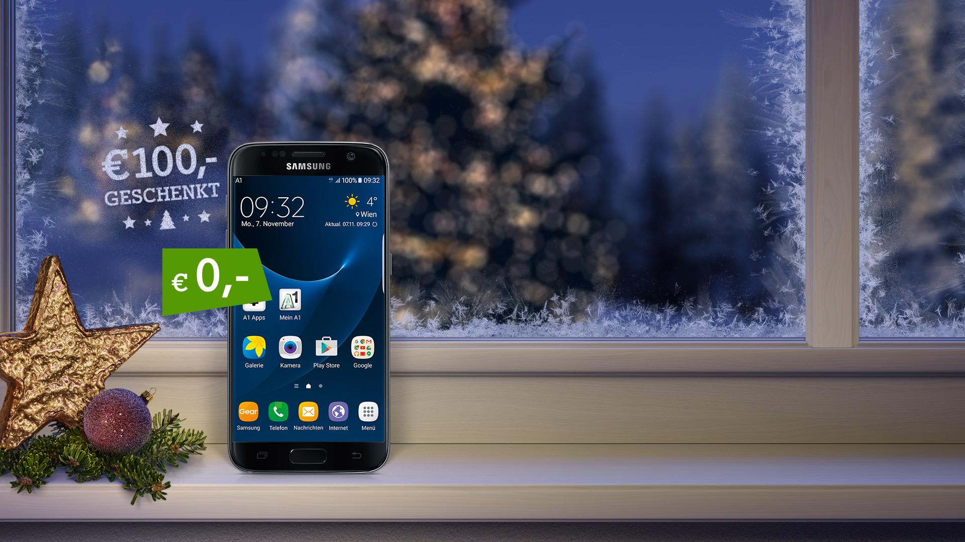Samsung Galaxy S7 auf verschneitem Fensterbrett