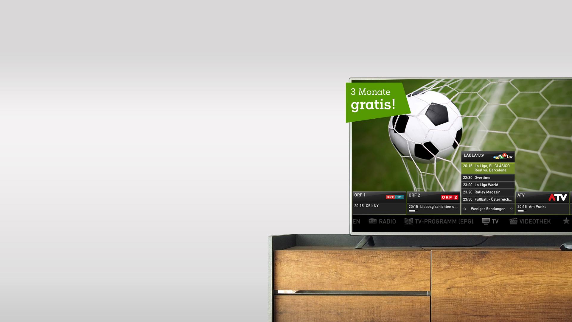 TV-Gerät mit A1 TV im Wonzimmer