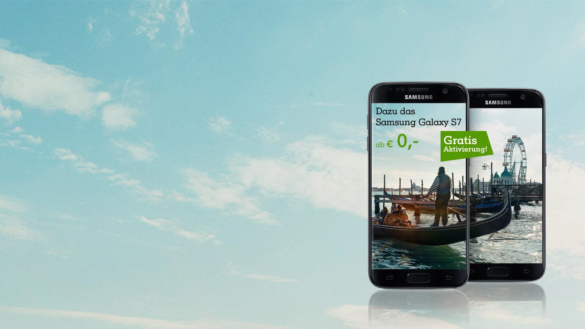Samsung Galaxy S7 Displays mit Venedigs Gondeln vor Wiener Riesenrad