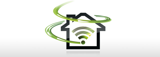 Festnetz-Internet Symbol mit Swoosh