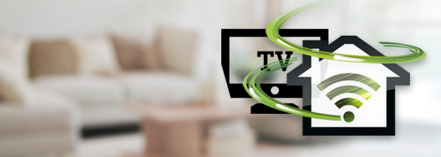 Festnetz-Internet und TV Icon auf Wohnzimmerhintergrund
