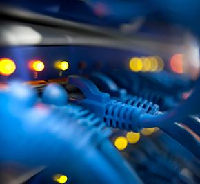 Reihe von Netzwerkkabeln, die in einem Gerät mit leuchtenden Lichtern stecken