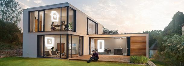Modernes Haus mit Internet, TV und mobilem Breitband